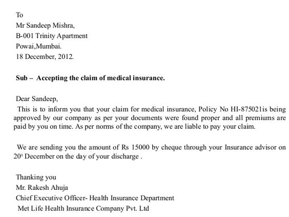 Letter Presentation Sample Insurance Claim Appeal Lawyer