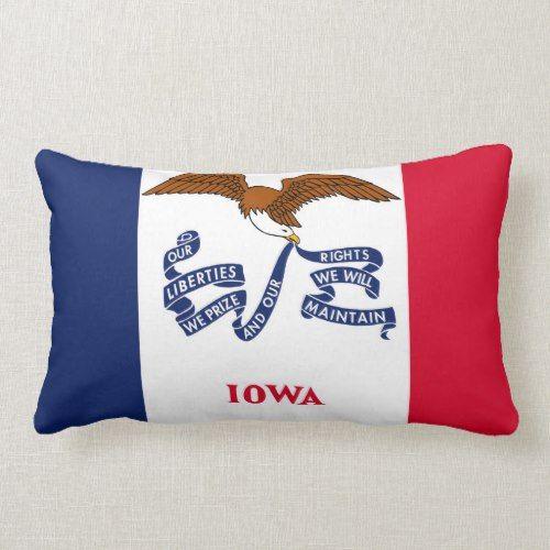 Iowa State Flag United America Republic Symbol Lumbar Pillow Zazzle Com Lumbar Pillow Iowa State State Flags