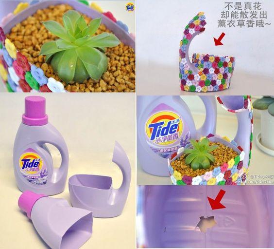 Transformando uma embalagem de detergente num bonito vaso - Tiestos de plastico baratos ...