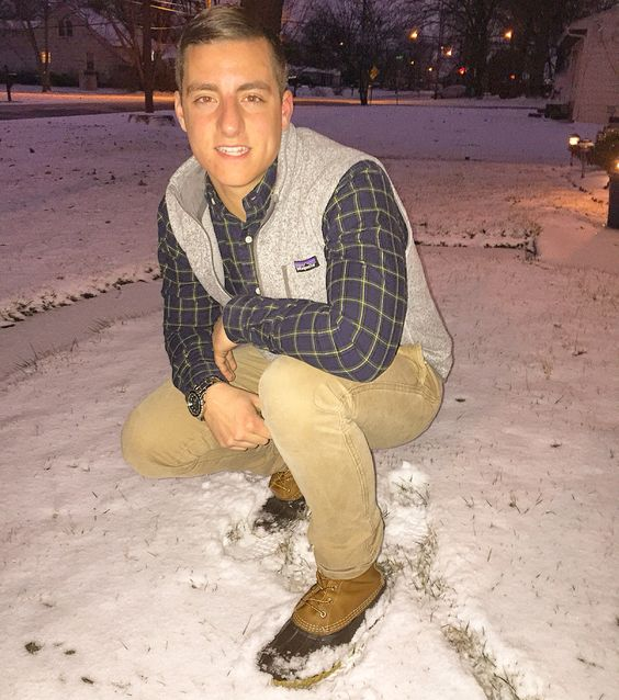 LL Bean boots in the snow.