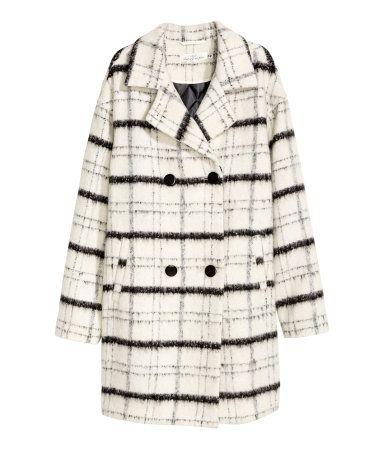 Mantel aus Wollmix | Naturweiß/Kariert | Damen | H&M AT