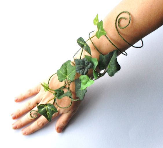 Poison ivy arm cuff slave bracelet leaves and vine whimsical woodland fancy dress tree people costume: