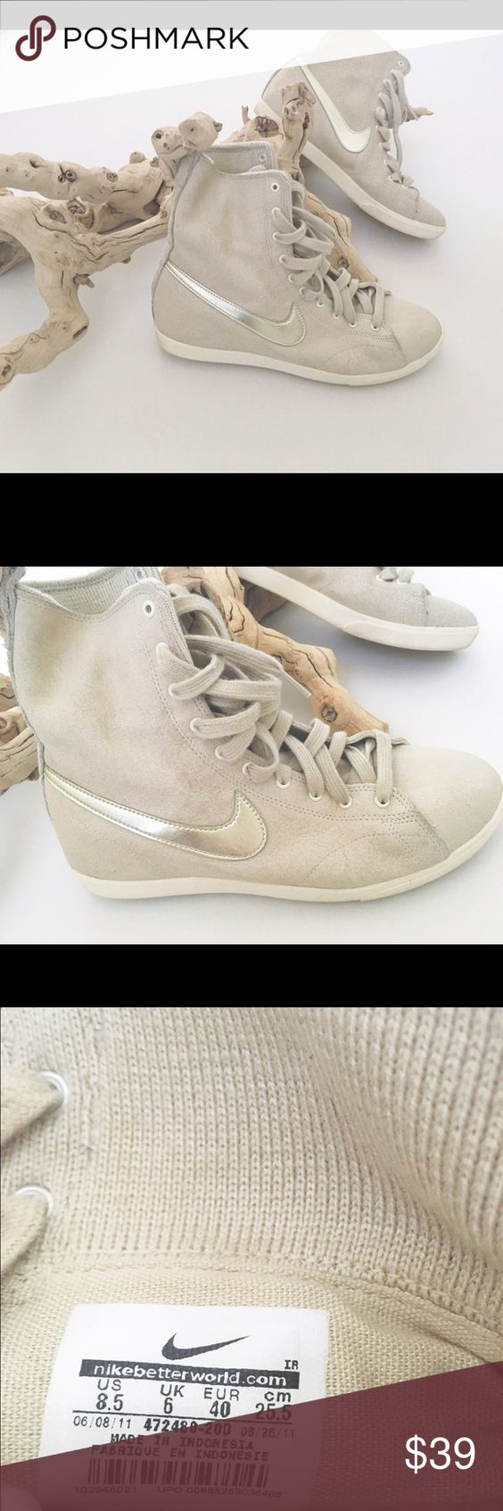 Tall nike sneakers in great condition Beige Nike great shoes !!!! Nike Shoes Athletic Shoes