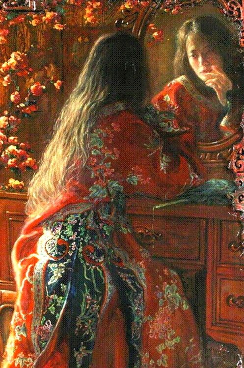 George Tsui    Looking in the Mirror, oil on canvas