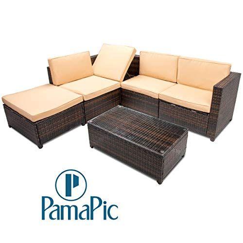Rattan Wicker Patio Sofa Set With Black Cushion Black Cushion