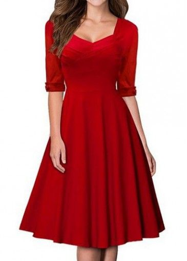 Half Sleeve Red Knee Length Dress with cheap wholesale price- buy ...