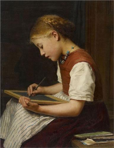 """Albert Anker """"Schulmadchen bei den Hausaufgaben"""", 1879 (Switzerland, Realism, 19th cent.)"""