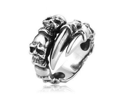 New Open Skull Hand Ring Stainless Steel Man's Fashion Jewelry Biker Punk Jewelry BR8-146