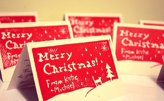 """the bar and bean, How to: """"Linocut"""" Christmas Cards"""