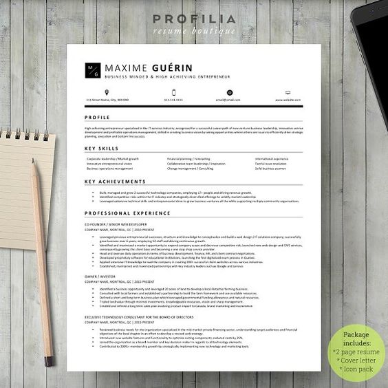 Word Resume \ Cover letter Template by Profilia Resume Boutique on - what goes in a resume cover letter