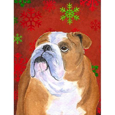 Caroline's Treasures Bulldog English Red Snowflakes Holiday Christmas House Vertical Flag