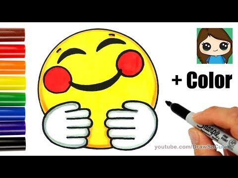 Cool How To Draw A Hugging Face Emoji Easy Coloring Drawing Lessons For Kids Drawing For Kids Cute Drawings