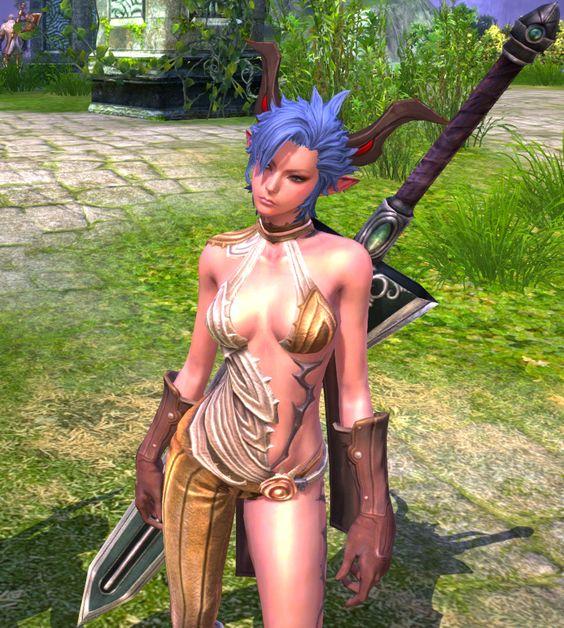 Die epische Kriegerin aus TERA trägt sehr enge Klamotten. Ob man damit im MMORPG-Bosskampf bestehen kann? Weitere Screenshots zu TERA kann man auf http://mmosurfer/tera/ ansehen.
