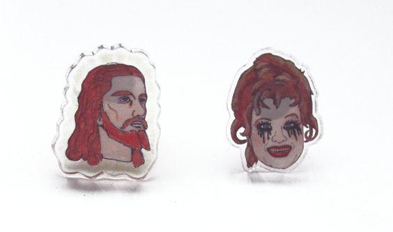 Jesus & Tammy Faye Earrings. $30.00, via Etsy.