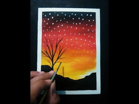 How To Make Poster Colour Drawing Easy Scenery For Beginners