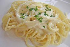 Spaghettis mit Knoblauch-Käsesauce (Rezept mit Bild)   Chefkoch.de