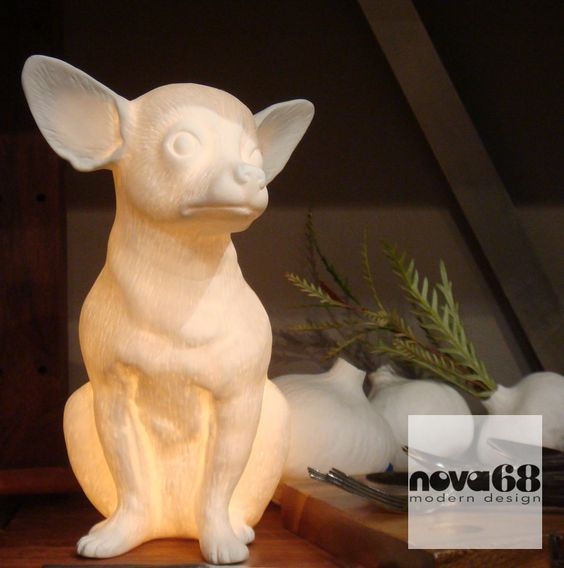 Chihuahua Lamp: Porcelain Chihuahua Dog Table Lamp