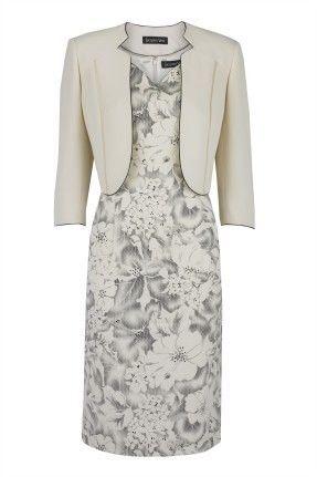 Jacques Vert - Dress & Bolero Jacket - Black & Cream Outline Floral - 16 - P1B