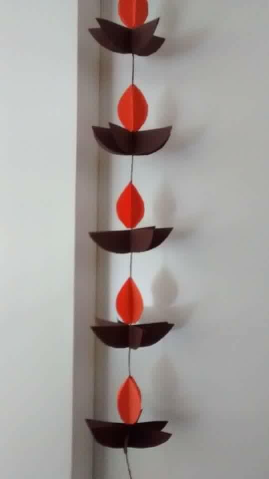 Hanging paper diyas