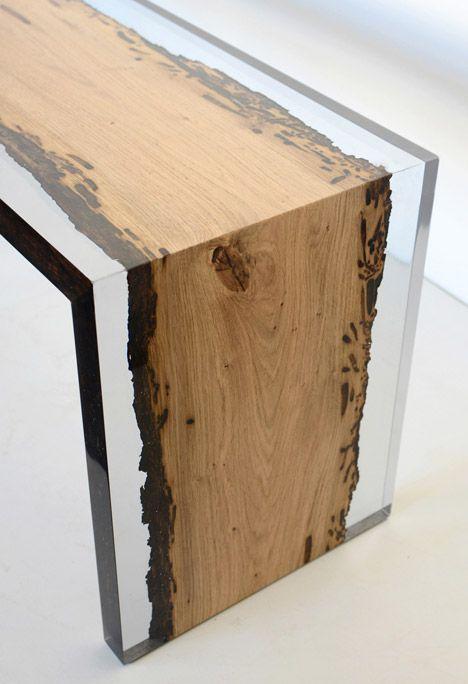 Elegant Live Edge Spalted Wormhole Malpe And Walnut Coffee Table