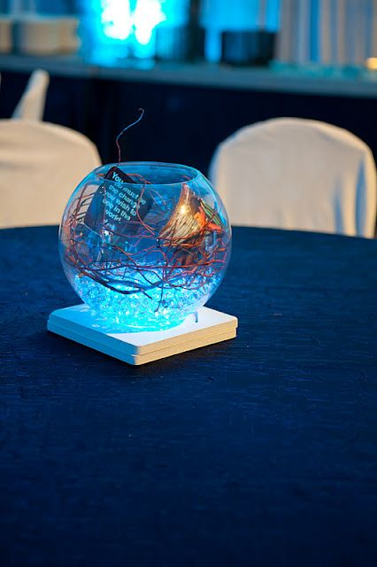 blue LED fish bowl centerpieces Photography: Mad Chicken Studio  Event Planner:  Twin Town Events