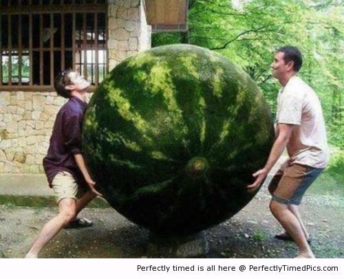 Cloudy with a chance of... Giant Watermelon? Photoshop has really made me a skeptic.