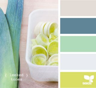Light gray, dusty blue, sea foam green, egg shell and citrus green.
