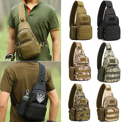 Mens Military Tactical Messenger Shoulder Bag Outdoor Waterproof Sling Chest Bag