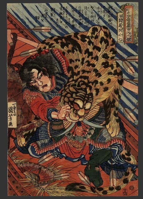 Heroes of the popular Suikoden by Kuniyoshi