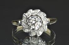 .65 Carat Old European Cut Diamond Flower Ring / .45 Center