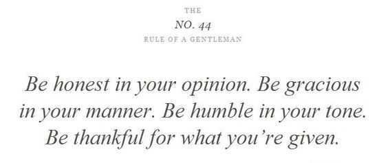 No. 44 Rule of a Gentleman