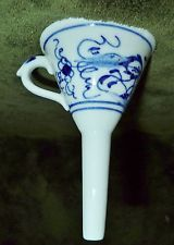 Antique Germany Meissen Blue Onion Danube Porcelain Small Wine Spirits Funnel #2