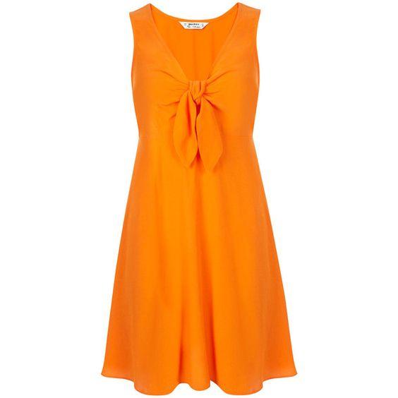 Miss Selfridge Petites Orange Tie Front Dress ($12) ❤ liked on Polyvore featuring dresses, orange, petite, miss selfridge dress, rayon dress, miss selfridge, viscose dress and petite dresses