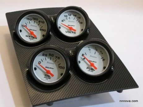 1968-1974 Nova Console Carbon Fiber Finish Quad Pod with Auto Meter Phantom Electric Gauges.