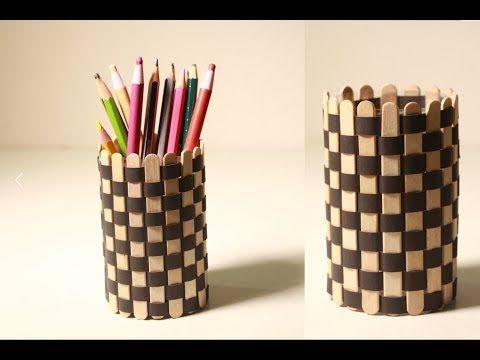 Diy Creative Room Decor Idea With Plastic Bottle And Ice Cream Sticks Youtube Craft Stick Crafts Popsicle Stick Art Ice Cream Stick