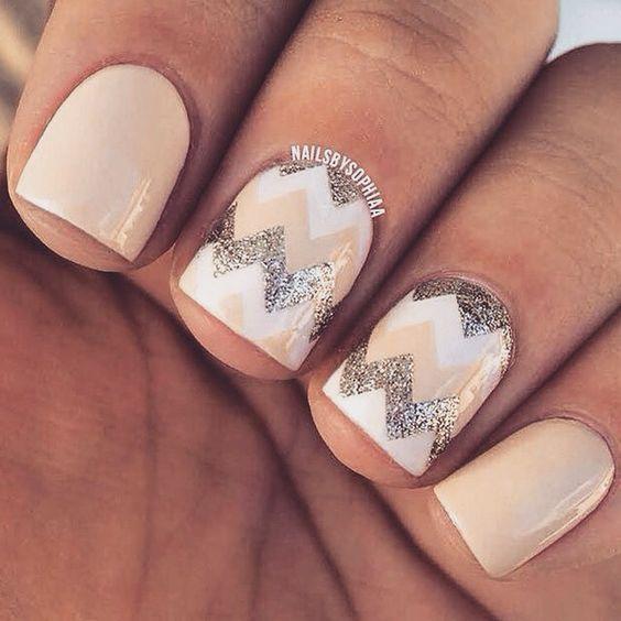 Nude & Silver chevron nails #nails #mani #manicure