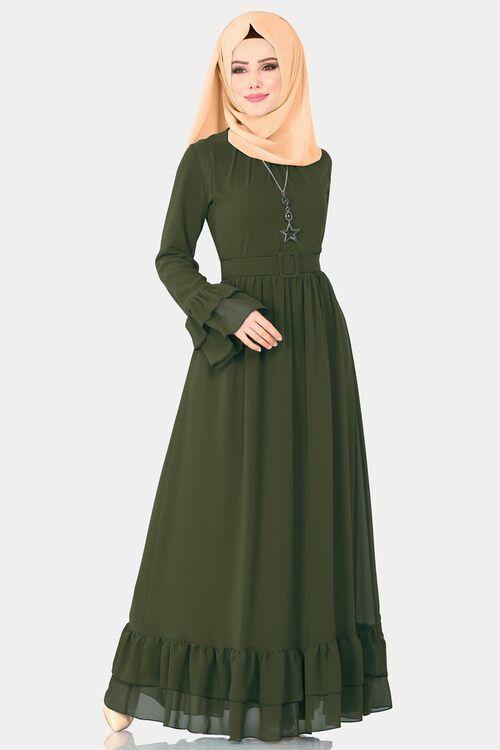 Modaselvim Elbise Firfirli Elbise 2062ab368 Haki Pakaian Wanita Model Pakaian Wanita