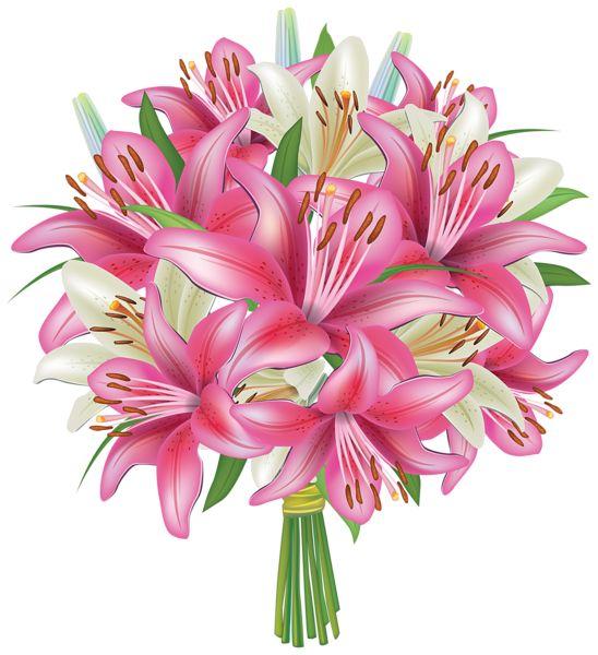 Clip Art Flower Bouquet Clip Art white and pink lilies flowers bouquet png clipart image bouquets image