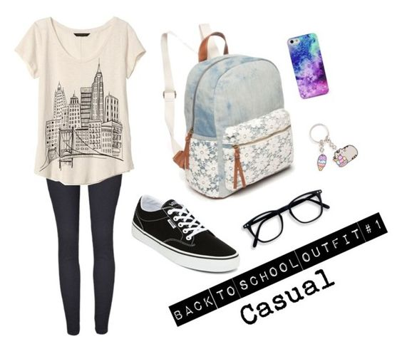 """Casual"" by atweenschitterchatter on Polyvore featuring Banana Republic, Red Camel, Vans and Pusheen:"