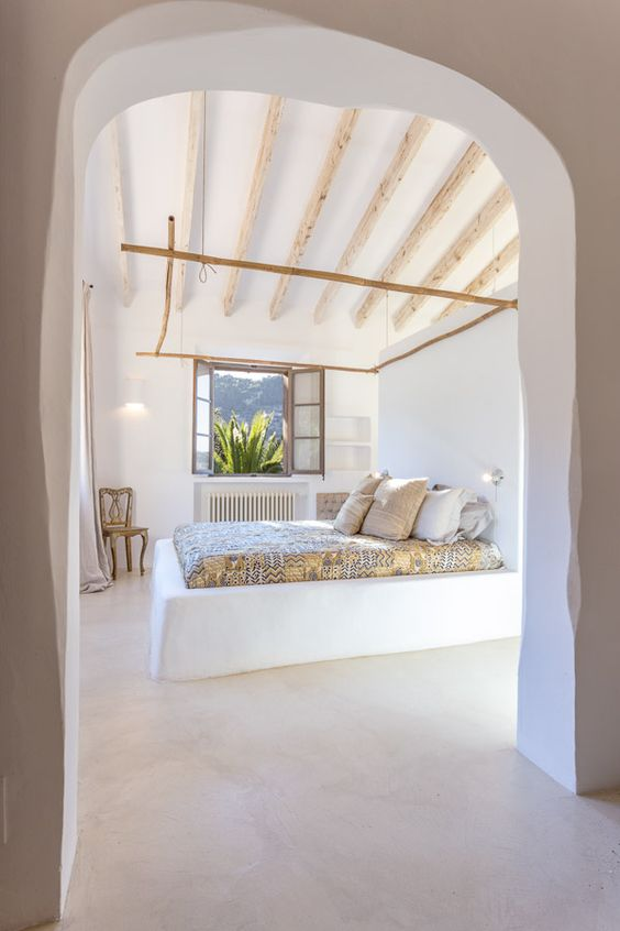 Bed and arch, by Moredesign.es. COME SEE MORE Rustic Spanish Villa Interior Design Inspiration!