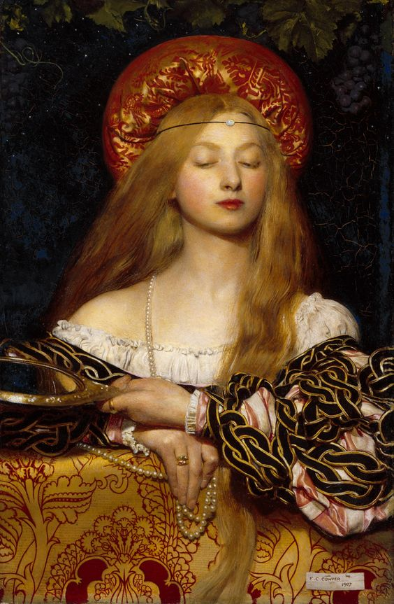 Vanity, 1907  Frank Cadogan Cowper          .  The subject matter and composition of 'Vanity' are derived from Italian Renaissance painting. Cowper has bedecked his youthful beauty with jewels and given her a hand-mirror to signify vanity. She stands before a vine, heavy with ripe grapes, suggestive of abundance and pleasure. Although this painting is secular in subject, the pose of a woman leaning on a covered parapet is reminiscent of Renaissance imagery of the Virgin and Chil