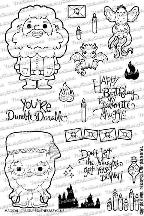 Magical Creatures Clear Stamps By The Sassy Club Harry Potter Coloring Pages Cute Harry Potter Harry Potter Artwork