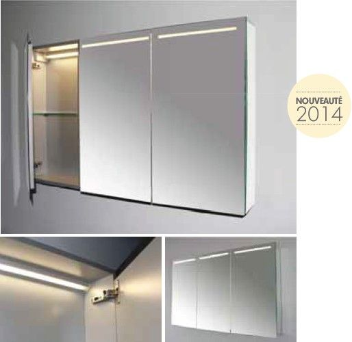 Armoires and led on pinterest for Armoire miroir salle de bain