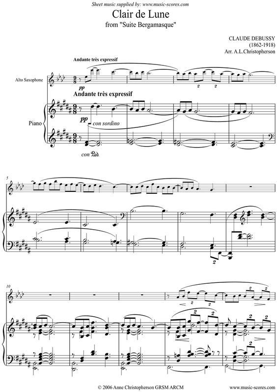 Suite Bergamasque: 03 Clair de Lune - Alto Sax sheet music by ...