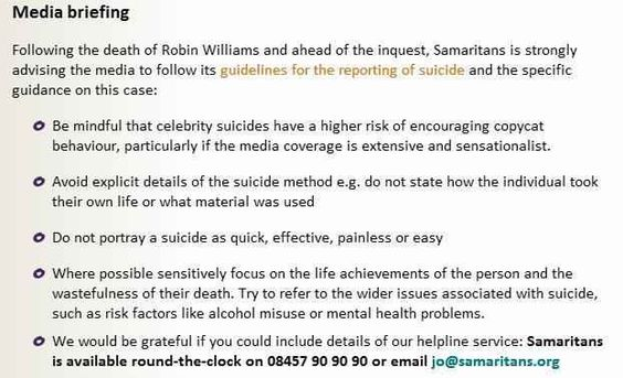 In case there's any doubt, these are the guidelines the Samaritans urge journalists to follow when reporting on someone's suicide. | Here Are The UK Newspaper Front Pages On Robin Williams' Death