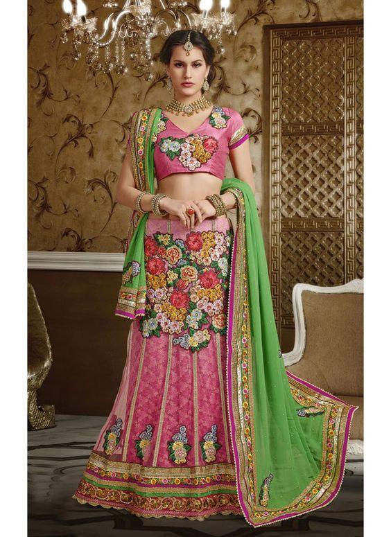 Pink & Green  net , jequard ,  santoon Party Wear Saree