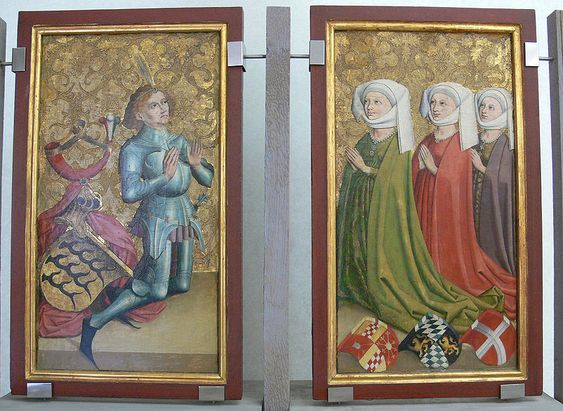 Ulrich der Vielgeliebte und seine drei Gemahlinnen Margarethe von Cleve, Elisabeth von Bayern-Landshut und Margarethe von Savoyen; Stuttgart, um 1470–1480