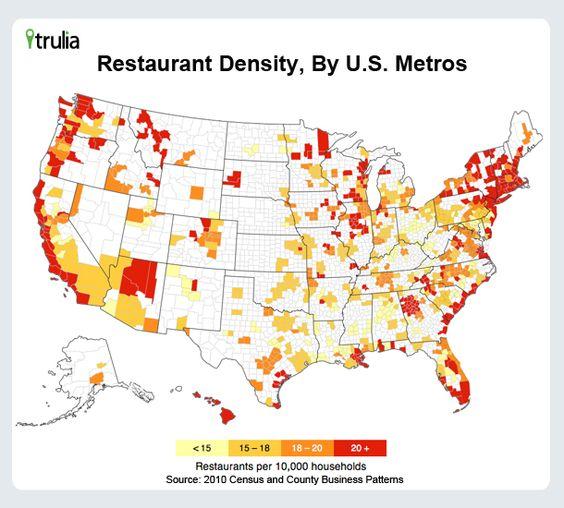 Trulia Restaurant Density Heatmap, By U.S. Metros: Maps Charts, Elegant Infographics, Maps Thelandofmaps, Bar Density, Density Heatmap, Interesting Maps, Restaurant Infographics