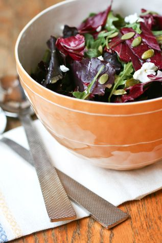 Sweet Double Bitters Salad with arugula, radicchio, chevre and pumpkin ...