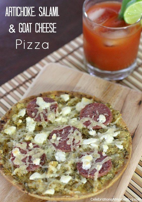 artichoke-salami-goat-cheese-pizza #pizza